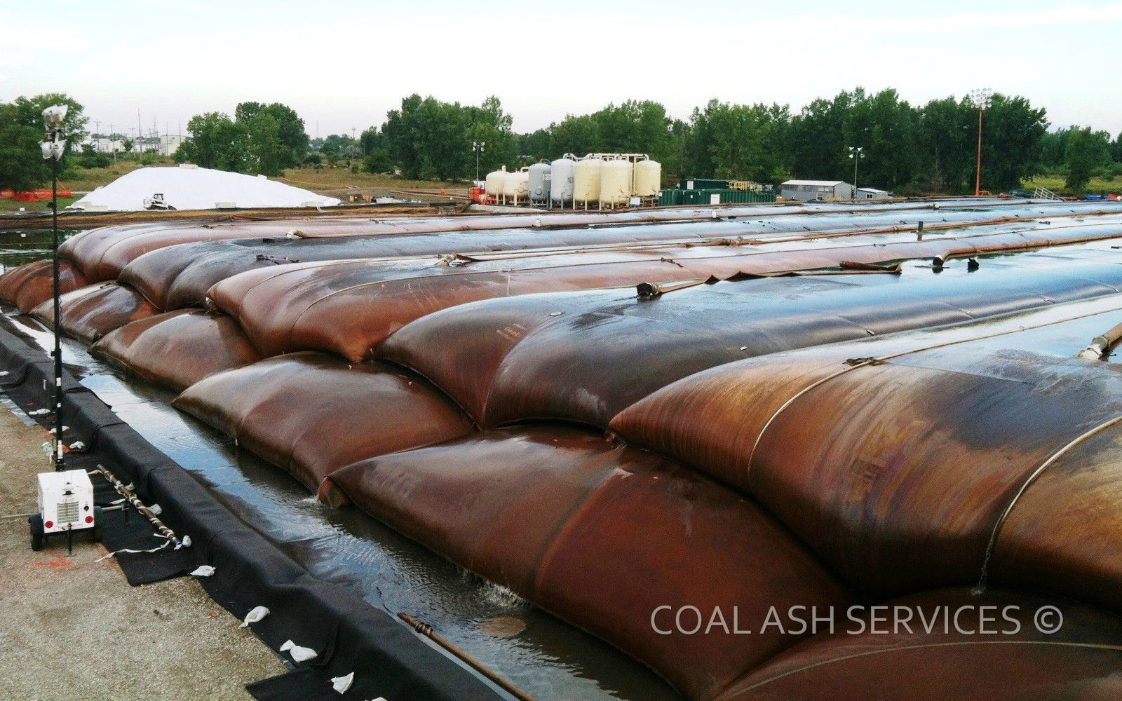 Geotextile tubes and water treatment plant