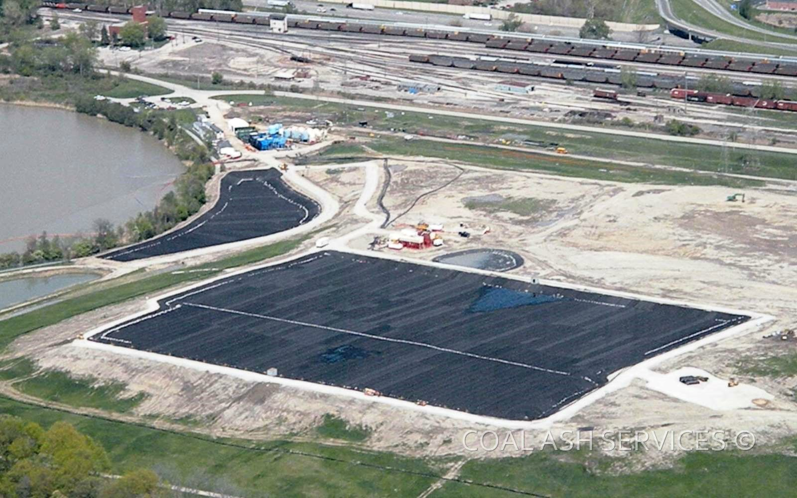 Aerial view of dewatering pad construction in-landfill