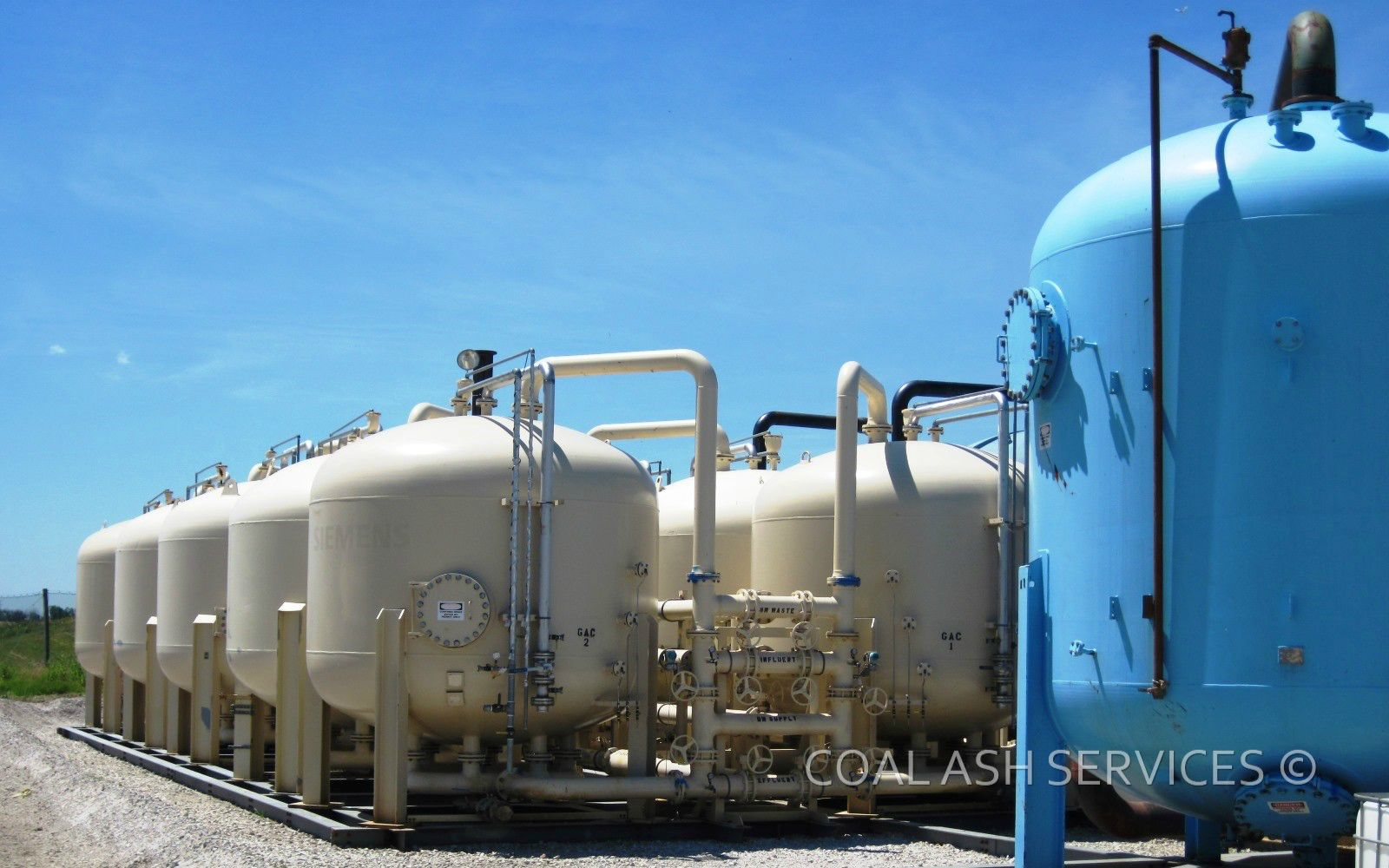 Water treatment plant filters and carbon vessels